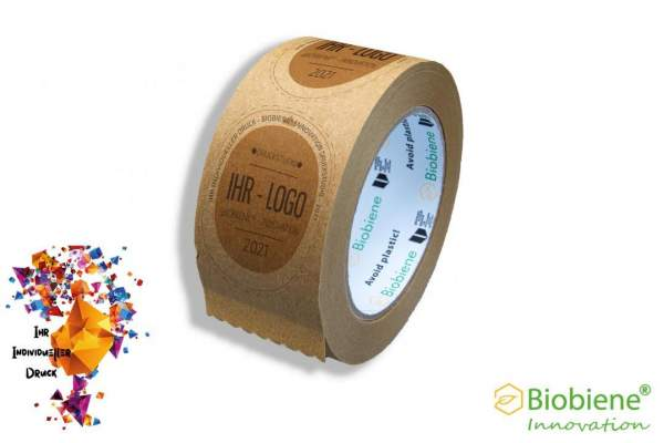 Bedrucktes Papierklebeband braun 50mm x 66m 2 farbig VE144