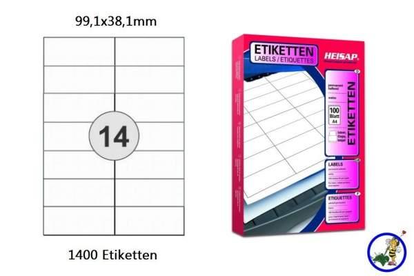 Papieretiketten HEI017 99,1x38,1mm 1400 Stück