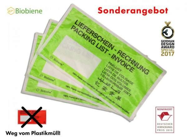 250 Stück Lieferscheintaschen DIN Lang Grün aus Papier (FSPPDL-BB)