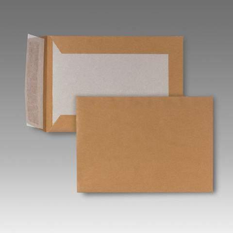 Papprückwandtaschen C5 162x229mm braun ohne Fenster haftklebend