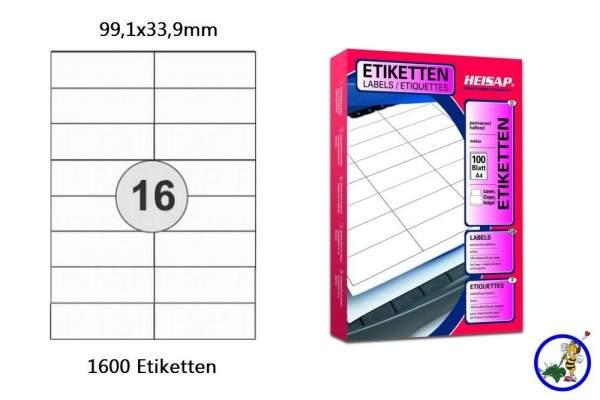 Papieretiketten HEI016 99,1x33,9mm 1600 Stück