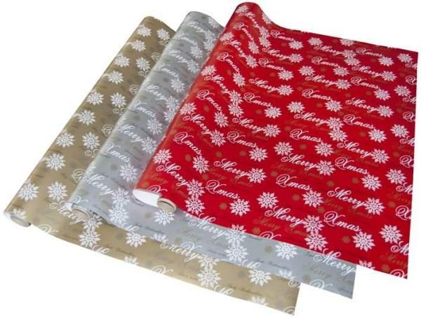 Geschenkpapier Premium 2mx70cm Frohe Weihnachten Silber