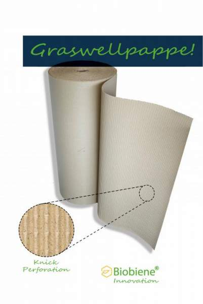Wellpolster® Graswellpappe 100cm x 70m Wellpapprollen aus Graspapier