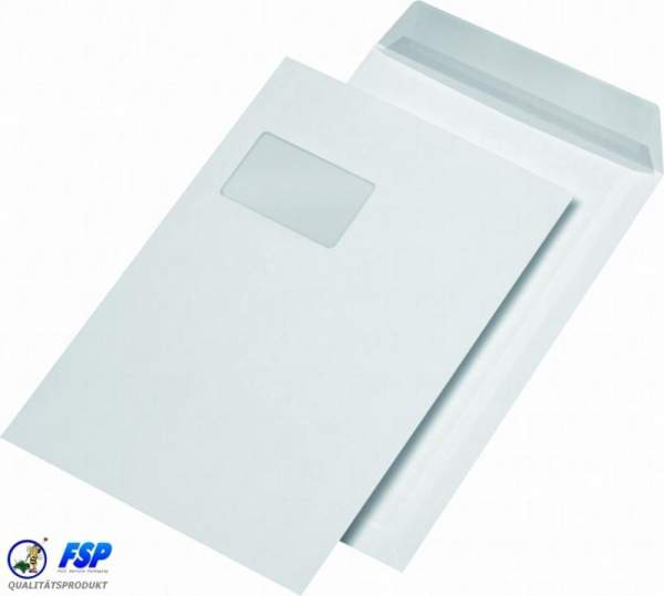 Weiße Versandtasche DIN C4 229x324mm mit Fenster haftklebend