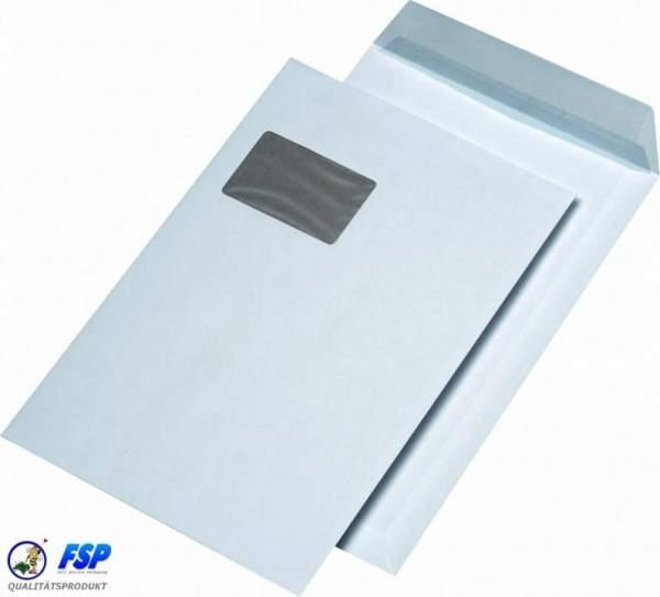 Weiße Papprückwandtaschen DIN C4 229x324mm mit Fenster haftklebend