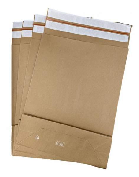 E-Commerce BIO Papierfaltentasche 450 x 350 x 120 + 100 mm (200 Stück)
