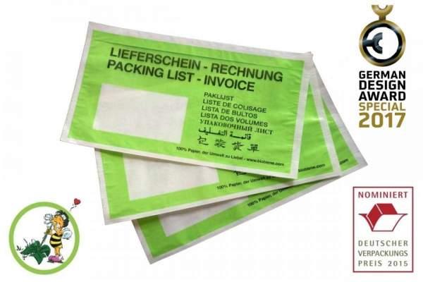 Lieferscheintaschen DIN Lang Grün aus Papier 100 Stück Kleinpackung (FSPPDL-BB-100)