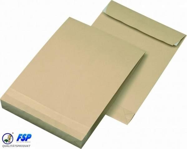 Braune DIN B4 250x353mm Faltentasche ohne Fenster (250 Stück)