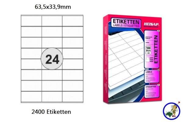 Papier-Etiketten 63,5x33,9mm DIN A4