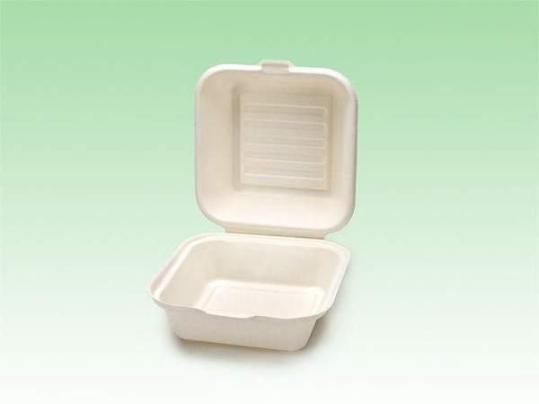 Biobiene® kompostierbare Hamburgerbox 450ml Zuckerrohrbagasse (50 Stück)
