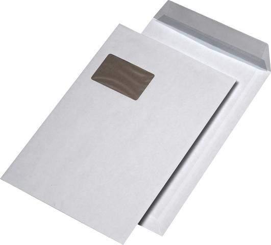 Papprückwandtaschen 229x324mm mit Fenster Weiß haftklebend