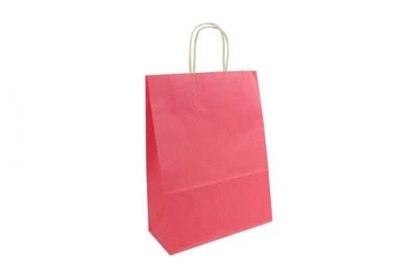 Papiertragetaschen 26+12x35cm Naturkraft 80g/m² Pink Rosa (PT261235Pi)