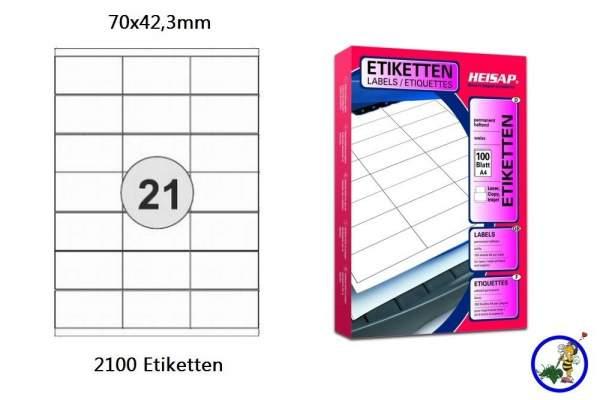 Papier-Etiketten 70x42,3mm DIN A4
