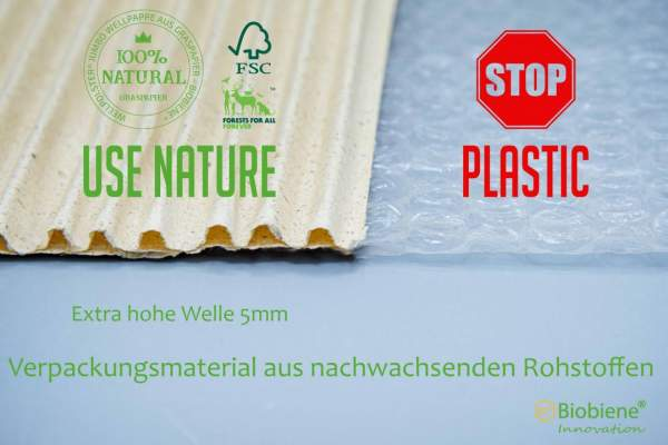 Biobiene Wellpolster® Jumbo Wellpappe aus Gras vs Plastik, Use Naturee - Stop Plastic