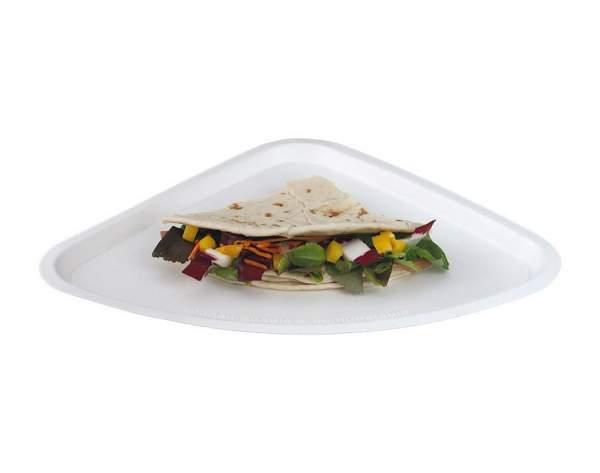 Pizzateller dreieckig aus Cellulose (35 cm x 26 cm)