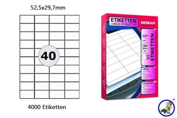 Papier-Etiketten 52,5x29,7mm  DIN A4 Druckeretiketten Label
