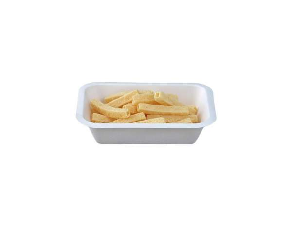 Pommes Frites Tablett aus Cellulose (17 cm x 12 cm x 4 cm, 450 ml)
