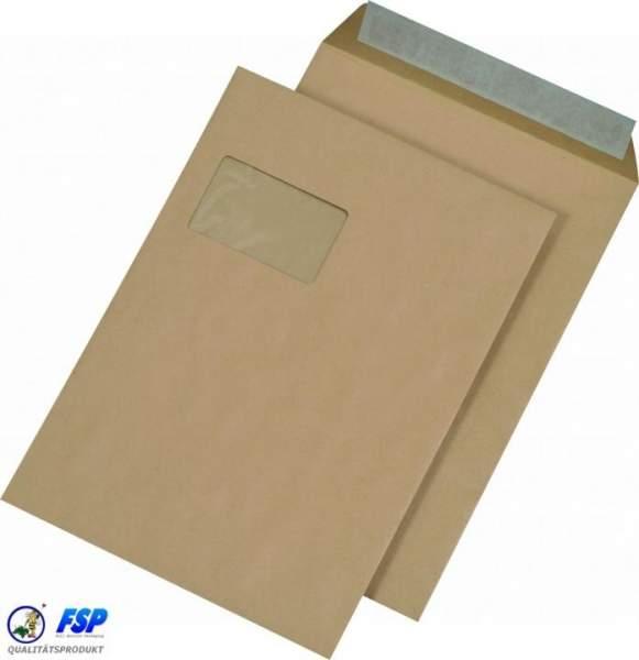 Versandtaschen C4 229x324mm haftklebend mit Schnellverschluss und Fenster Braun (250 Stück)