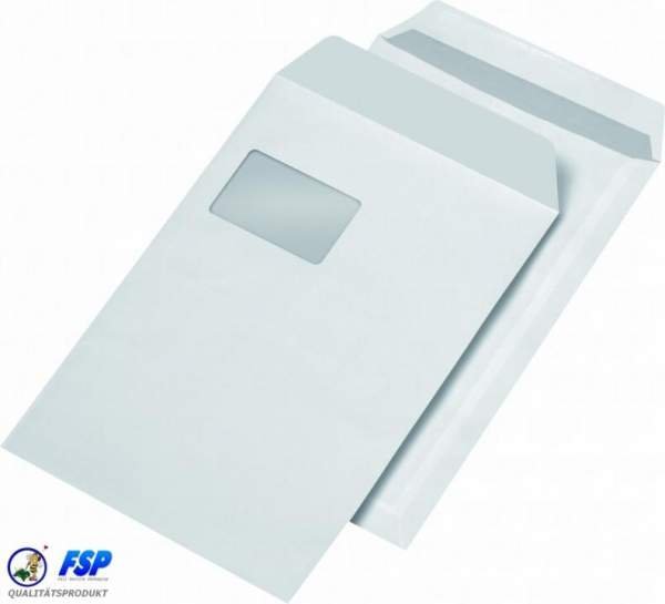 Weiße DIN C4 229x324mm Versandtasche mit Fenster sk (250 Stück)