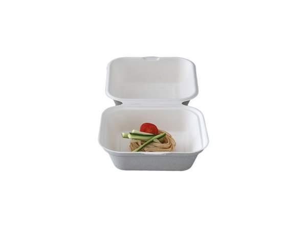 Burger-Box aus Cellulose (14,8 cm x 15,5 cm x 8 cm / 4 cm, 400 ml)