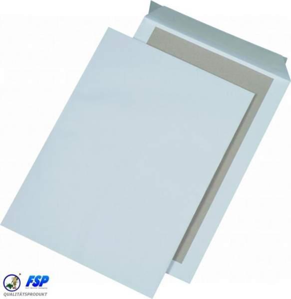 Weiße Papprückwandtaschen DIN B4 250x353mm ohne Fenster haftklebend