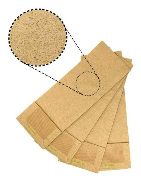 Blockbodenbeutel aus Graspapier ohne Fenster 105x65x290 mm