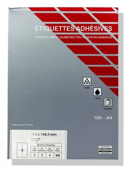 Laserdrucker Etiketten 105x148,5mm Weiß 400 Stück