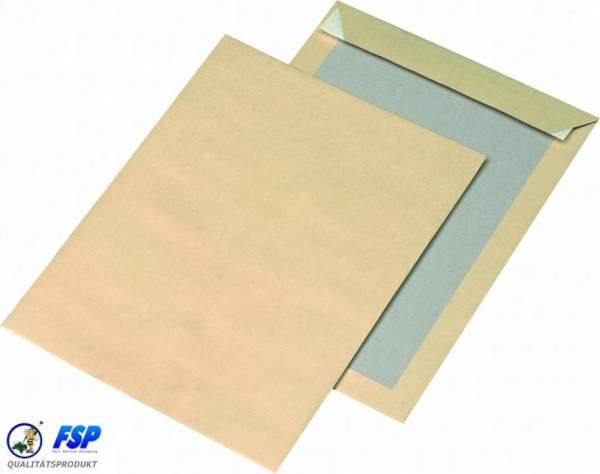 Braune Papprückwandtaschen DIN C4 ohne Fenster haftklebend