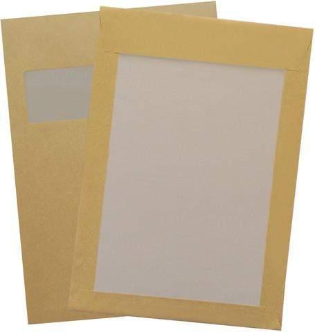 Papprückwandtaschen C4 229x324mm mit Fenster Braun haftklebend