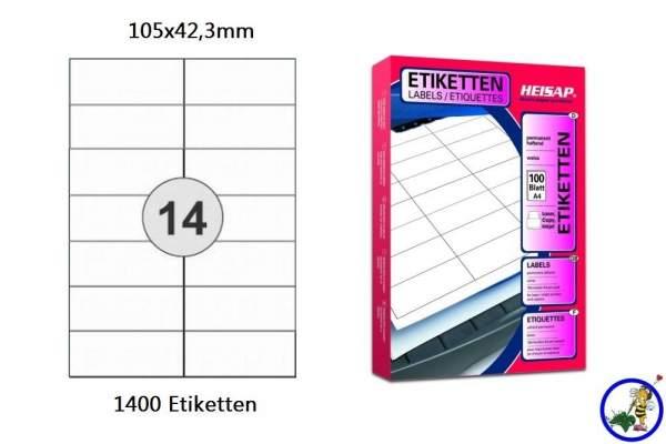 Papieretiketten HEI020 105x42,3mm 1400 Stück
