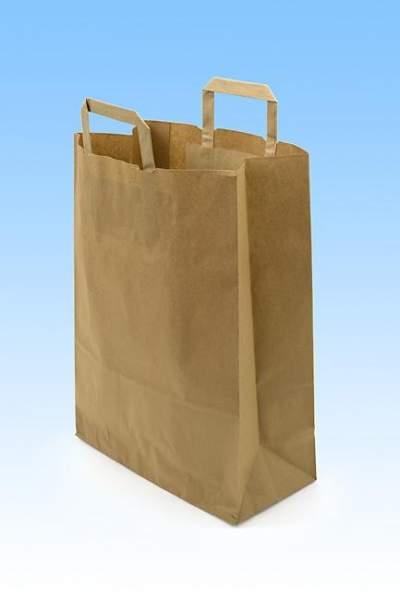 Tragetaschen Papier braun 22+10x36cm Naturkraft 70g/m²