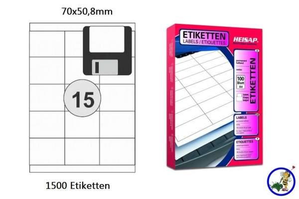 Papieretiketten HEI014 70x50.8mm 1500 Stück