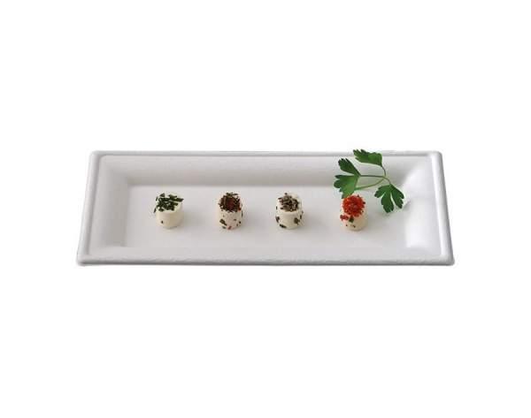 Rechteckiger Design Teller aus Cellulose (26 cm x 13 cm x 1,5 cm)