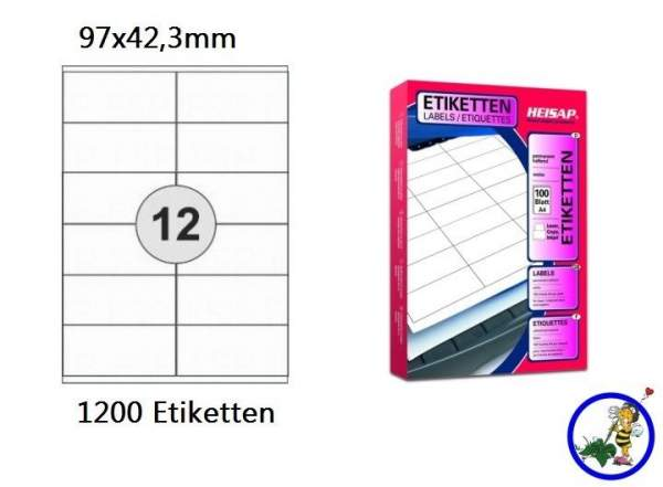 Papieretiketten HEI015 97x42,3mm 1200 Stück
