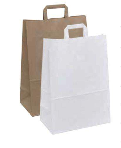 Papiertragetaschen 22+11x28cm Kraftpapier 70g/m² Weiß 250 Stück (PT221128W)