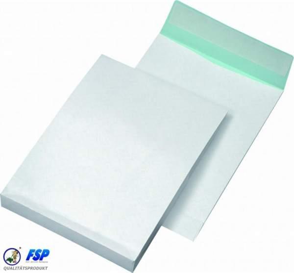 Faltentaschen B4 250x353mm fadenverstärkt ohne Fenster Weiß