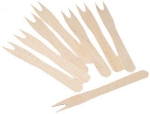 Pommesgabeln Holz Einmal-Besteck 185mm lang